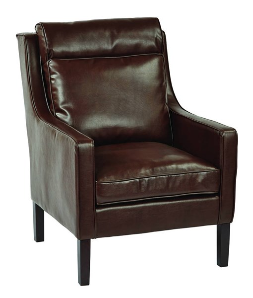 Colson Cocoa Bonded Leather Brown Brushed Wood Legs Arm Chair OSP-SB257-BD24