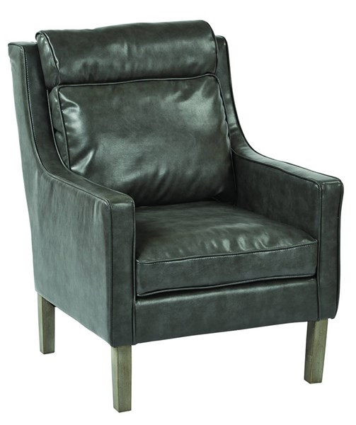 Colson Pewter Bonded Leather Grey Brushed Wood Legs Arm Chair OSP-SB257-BD26