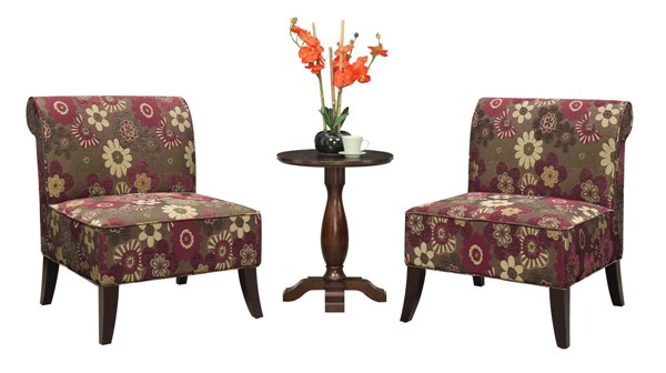 Morgan Red Cherry Solid Wood Fabric 3pc Set (Table & Scarlett Chairs) OSP-SB283-S51