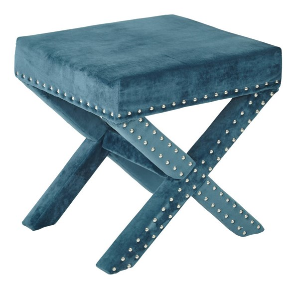 Katie Contemporary Azure Fabric Wood Metal Nailhead Bench OSP-SB313AS-MV14