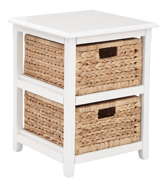 Seabrook Transitional White Wood 2-Tier Storage Unit OSP-SBK4512A-WH