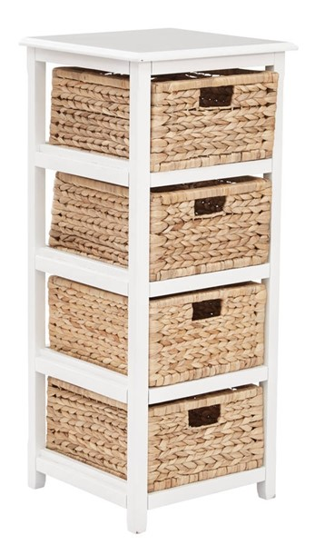 Seabrook Transitional White Wood 4-Tier Storage Unit OSP-SBK4514A-WH