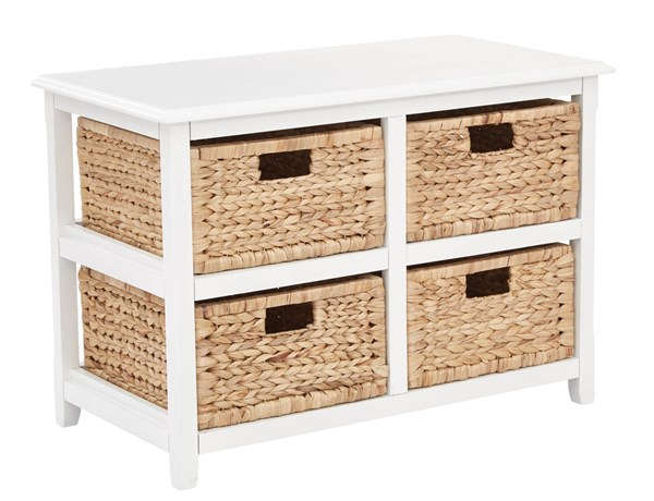 Seabrook Transitional White Wood Four Drawer Storage Unit OSP-SBK4515A-WH