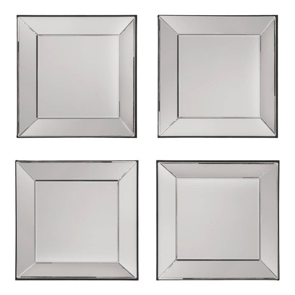 Time Square Wide Mirrored Frames Glass MDF 4pc Wall Mirror Set OSP-SH9359
