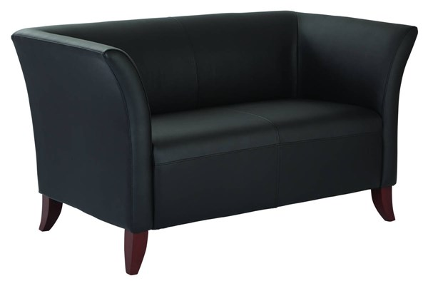 Lounge Seating Contemporary Black Faux Leather Cherry Wood Loveseat OSP-SL1572-U6