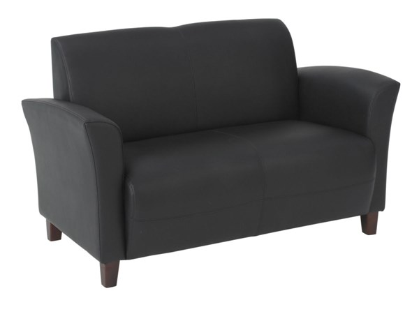 Lounge Seating Black Wood Bonded Leather Loveseat W/Cherry Legs OSP-SL2272EC3