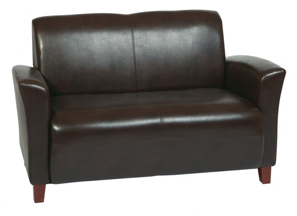 Lounge Seating Mocha Wood Bonded Leather Loveseat W/Cherry Legs OSP-SL2272EC9