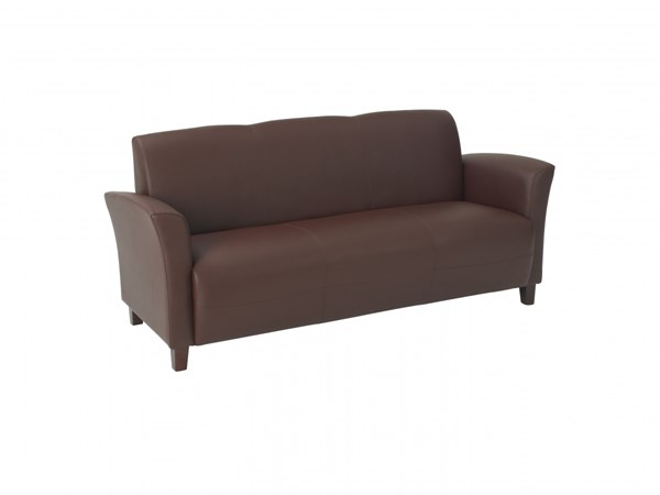 Lounge Seating Wine Wood Bonded Leather Sofa W/Cherry Legs OSP-SL2273EC6