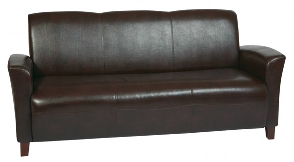 Lounge Seating Mocha Wood Bonded Leather Sofa W/Cherry Legs OSP-SL2273EC9