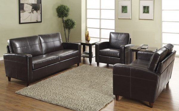 Lounge Seating Espresso Bonded Leather 3pc Living Room Set OSP-SL281-EC1-SET