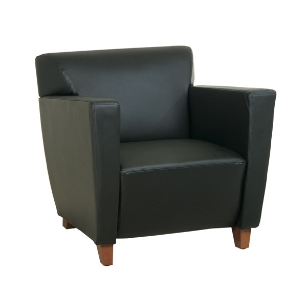 Lounge Seating Black Bonded Leather Club Chair w/Cherry Legs OSP-SL8471