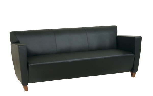 Lounge Seating Black Bonded Leather Sofa w/Cherry Legs OSP-SL8473