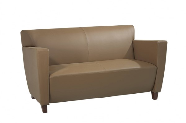 Lounge Seating Taupe Bonded Leather Loveseat w/Cherry Legs OSP-SL8872