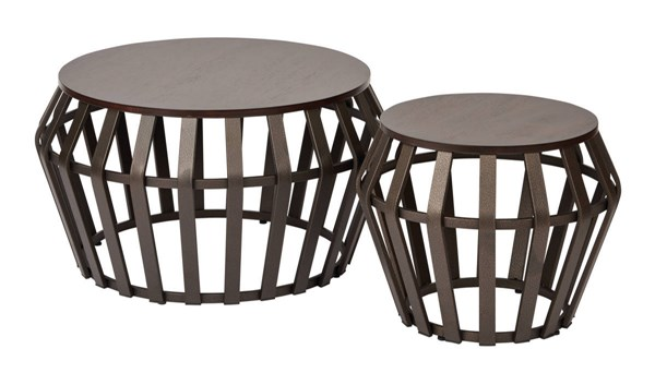 Solana Bronze Metal Espresso Wood Top Round 2 Piece Set Accent Tables OSP-SLN192-A