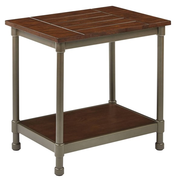 Sullivan Traditional Cast Pewter Metal Walnut Wood End Table OSP-SLVN22-PTWA