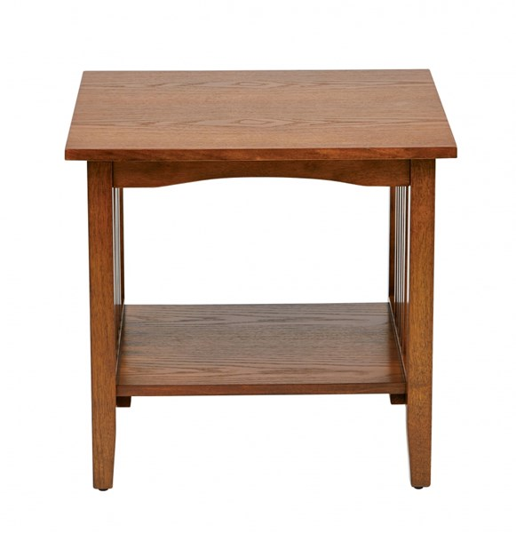 Sierra Transitional Ash Solid Wood Shelves Rectangle End Table OSP-SRA09-AH
