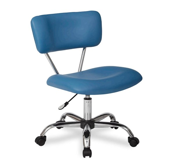 Vista Traditional Blue Faux Leather Chrome Base Task Office Chair OSP-ST181-U7