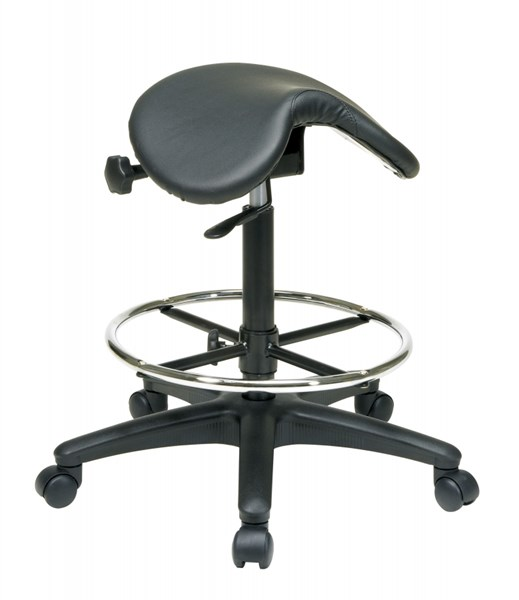 Black Vinyl Nylon Backless Drafting Stool w/Saddle Seat OSP-ST205