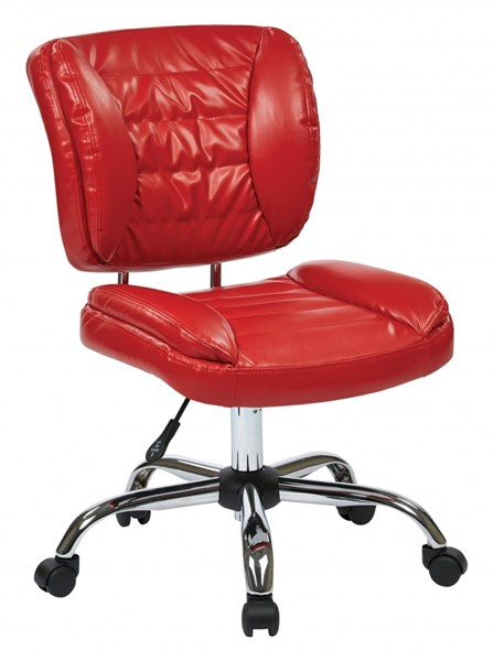 ST Series Red Faux Leather Armless Adjustable Height Task Chair OSP-ST52050C-U9