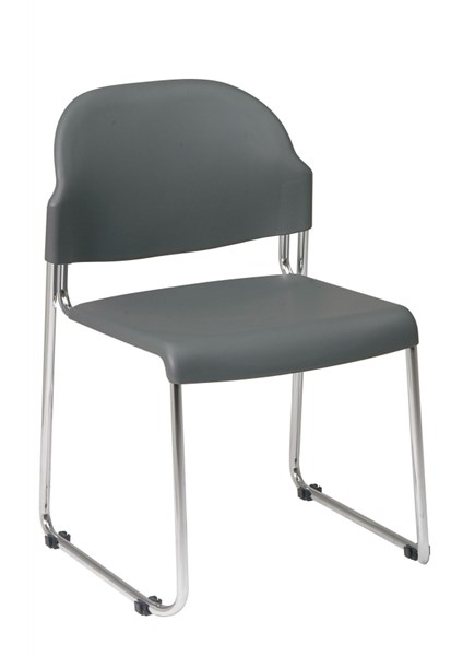4 STC Series Grey Plastic Metal Stack Chairs w/Plastic Seat & Back OSP-STC3030-CH-VAR