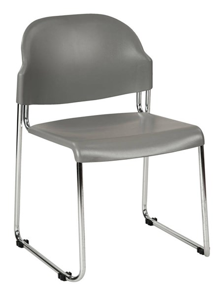 2 STC Series Contemporary Grey Plastic Seat & Back Metal Stack Chairs OSP-STC3230-2