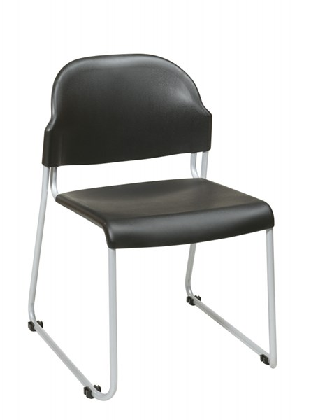 2 STC Series Black Plastic Seat & Back Stack Chairs OSP-STC3230-3