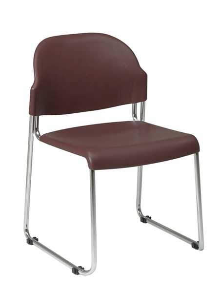 2 STC Series Burgundy Plastic Seat & Back Metal Stack Chairs OSP-STC3230-4