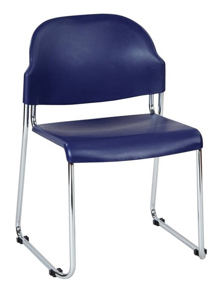 2 STC Series Contemporary Blue Plastic Seat & Back Metal Stack Chairs OSP-STC3230-7
