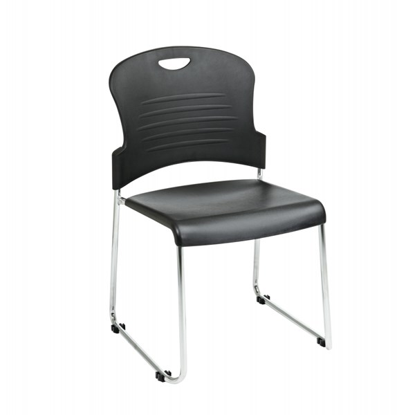 4 STC Series Black Plastic Seat & Back Sled Base Stack Chairs OSP-STC866C4-3