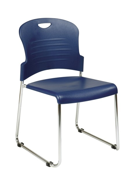 2 STC Series Navy Plastic Seat & Back Sled Base Stack Chairs OSP-STC866C2-7