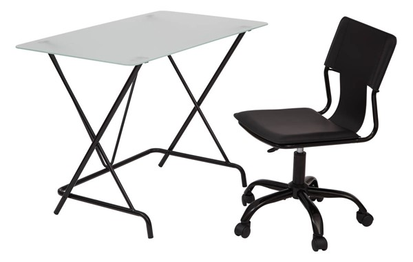TC Collection Frosted Tempered Glass Black PVC Seat Desk & Chair Set OSP-TCS62913