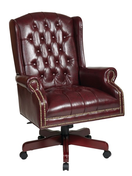 TEX Collection Mahogany Vinyl Wood Deluxe High Back Executive Chair OSP-TEX220-JT4
