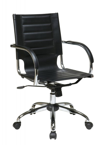 Trinidad Black Vinyl Chrome Fixed Padded Arms Office Chair OSP-TND941A-BK