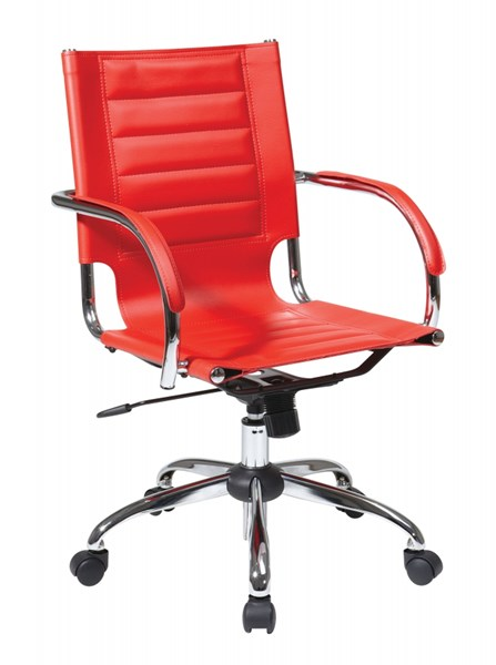 Trinidad Red Vinyl Chrome Fixed Padded Arms Office Chair OSP-TND941A-RD
