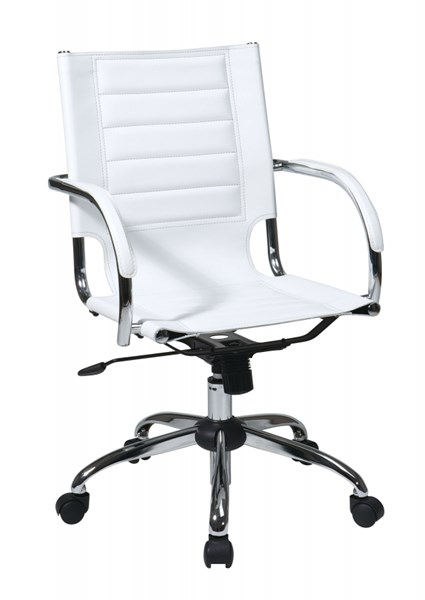 Trinidad White Vinyl Chrome Fixed Padded Arms Office Chair OSP-TND941A-WH