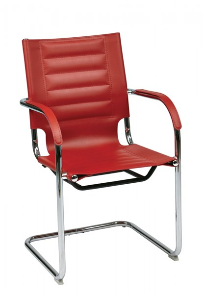 Trinidad Contemporary Red Vinyl Chrome Sled Base Guest Chair OSP-TND945A-RD