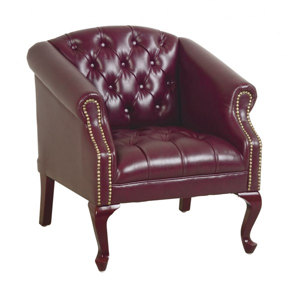 TSX Collection Mahogany Ox Blood Vinyl Wood Queen Anne Legs Chair OSP-TSX1121-JT4