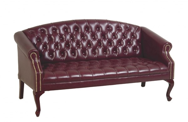 TSX Collection Mahogany Ox Blood Vinyl Wood Queen Anne Legs Sofa OSP-TSX1123-JT4