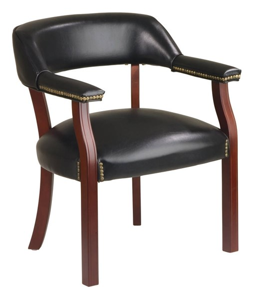 Traditional Vinyl Mahogany Wood Guest Chair W/Wrap Around Back OSP-TV230-OFFCH-VAR