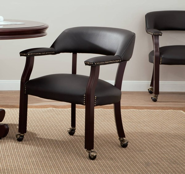 Traditional Mahogany Vinyl Wood Legs with Casters Guest Chair OSP-TV231-3