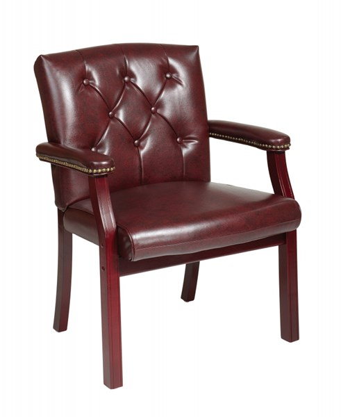 Traditional Mahogany Vinyl Wood Padded Arms Visitors Chair OSP-TV233-JT4