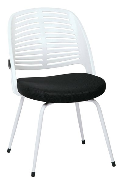 Tyler Transitional White Frame & Black Fabric Armless Visitor Chair OSP-TYL26G-W3