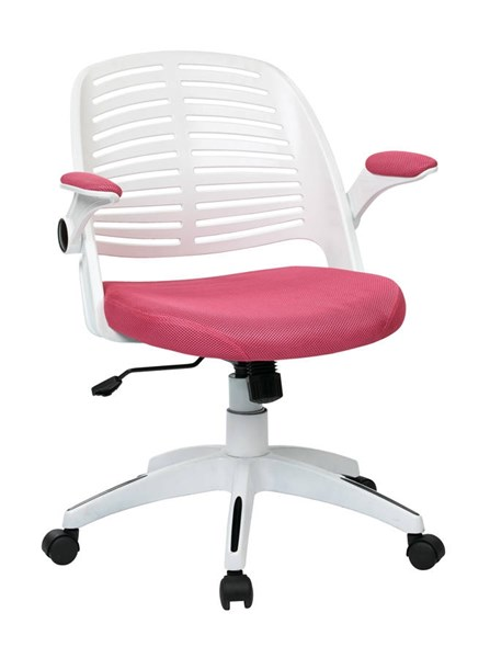 Tyler Transitional White Frame & Pink Fabric w/Arm Office Chair OSP-TYLA26-W261