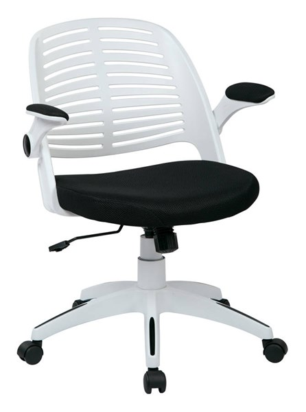 Tyler Transitional White Frame & Black Fabric w/Arm Office Chair OSP-TYLA26-W3