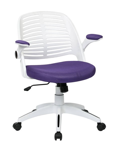 Tyler Transitional White Frame & Purple Fabric w/Arm Office Chair OSP-TYLA26-W512
