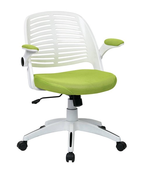 Tyler Transitional White Frame & Green Fabric w/Arm Office Chair OSP-TYLA26-W6