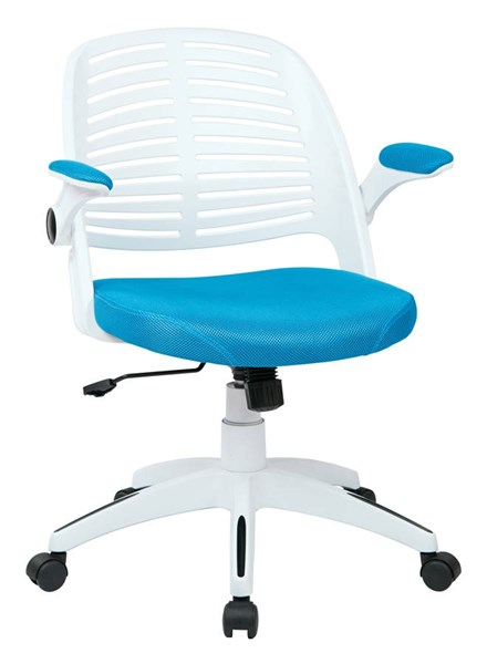 Tyler Transitional White Frame & Blue Fabric w/Arm Office Chair OSP-TYLA26-W7