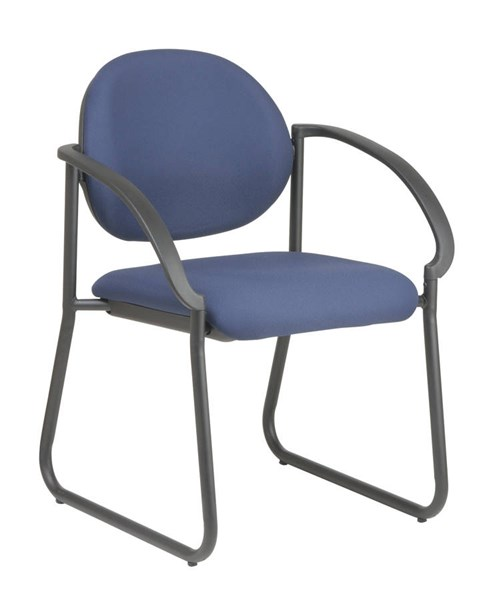 Deluxe Contemporary Black Fabric Metal Sled Base Arm Chair OSP-V3460-231