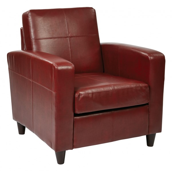 Venus Contemporary Crimson Red Espresso Bonded Leather Club Chairs OSP-VNS51A-LCH-VAR