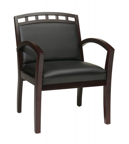 WD Collection Fabric Faux Leather Mahoagny Leg Chairs w/Crown Back OSP-WD1643-CH-VAR